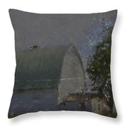 White Barn Digital Painting Throw Pillow