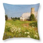 White Barn In Michigan Throw Pillow