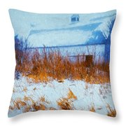 White Barn In Snowstorm Throw Pillow