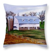 White Barn On A Cloudy Day Throw Pillow