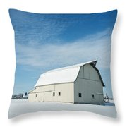 White Barn With Snow Throw Pillow