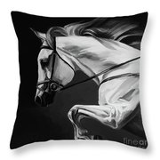 White Beautiful Horse B And W Throw Pillow