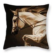 White Beautiful Horse  Throw Pillow