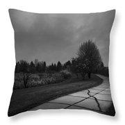 White Bench Horizontal Bw Throw Pillow