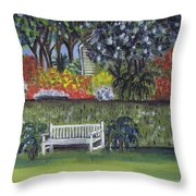 White Bench In Colorful Garden Throw Pillow