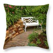 White Bench In The Garden Throw Pillow