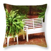 White Bench Sitting In A Beautiful Garden 2 Throw Pillow