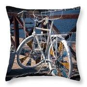 White Bike Throw Pillow