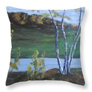 White Birch In The Landscape Throw Pillow