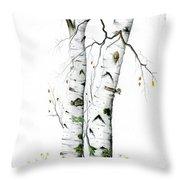 White Birch Throw Pillow
