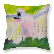 Pastel Feathered Cockatoo Throw Pillow