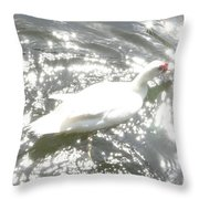 White Bird On Sparkly Water Throw Pillow