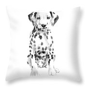 Dalmatian Dog Watercolor Painting, White Black Spotted Dalmatian Puppy Art Print Throw Pillow
