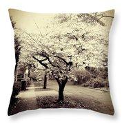 White Bloomers Throw Pillow