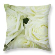 White Blooming Roses Throw Pillow