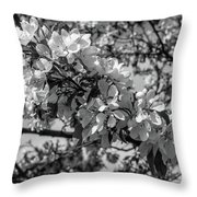 White Blossoms In Black And White Throw Pillow