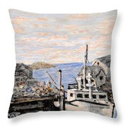 White Boat In Peggys Cove Nova Scotia Throw Pillow
