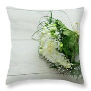 White Wedding Bouquet  Throw Pillow