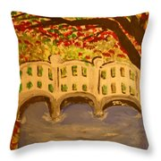 White Bridge In The Woods Throw Pillow by Marie Bulger