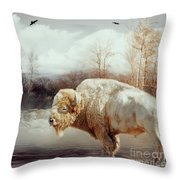 White Buffalo And Raven Throw Pillow