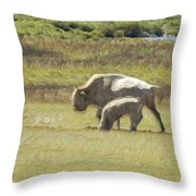 White Buffalo Throw Pillow