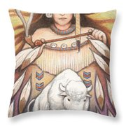 White Buffalo Woman Throw Pillow