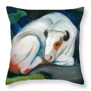 White Bull Resting In The Woods By Franz Marc Throw Pillow