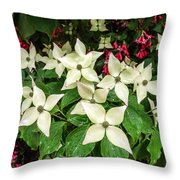 White Bunchberries In The Rain Throw Pillow