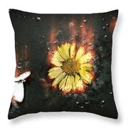 White Butterfly And Yellow Flower Throw Pillow