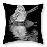 White Butterfly Bw Throw Pillow