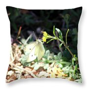 White Butterfly On Goldenseal Throw Pillow