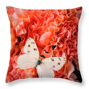 White Butterfly On Pink Carnations Throw Pillow