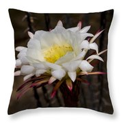 White Cactus Fower Throw Pillow