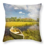 White Canoe Textured Painting Throw Pillow
