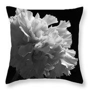 White Carnation Monochrome Throw Pillow