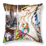 White Carousel Horse Dressed Up Throw Pillow