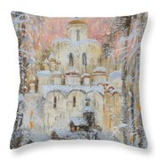 White Cathedral Under Snow Throw Pillow