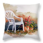 White Chair With Flower Pots Throw Pillow
