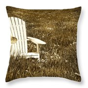 White Chair With Straw Hat In A Field Throw Pillow