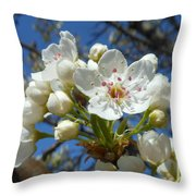 White Blossoms Blooming Throw Pillow