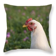 White Chicken Throw Pillow