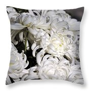 White Chrysanthemum Throw Pillow