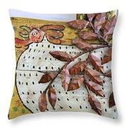 White Ckicken Throw Pillow