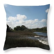 White Cloudes Over Water Throw Pillow