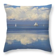 Romantic View With Sailboats In Holland Throw Pillow