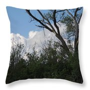 White Clouds With Trees Throw Pillow