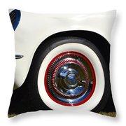 White Corvette Front Fender Throw Pillow