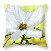White Cosmos Floral Throw Pillow