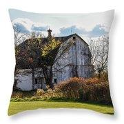 White Country Barn Throw Pillow