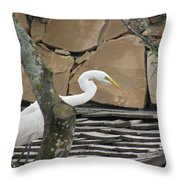 White Crane On Roof Throw Pillow